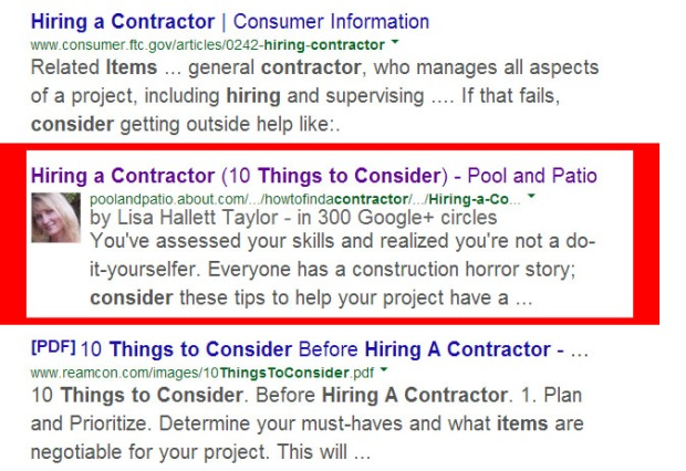 Google Authorship as seen in SERP
